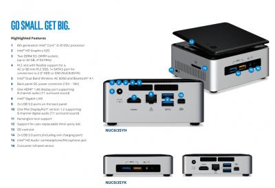 Intel NUC Kit NUC6i3SYK i3 6100U 23GHz 6th gen 8GB RAM 120gb ssd 4K minipc 133563784241 2